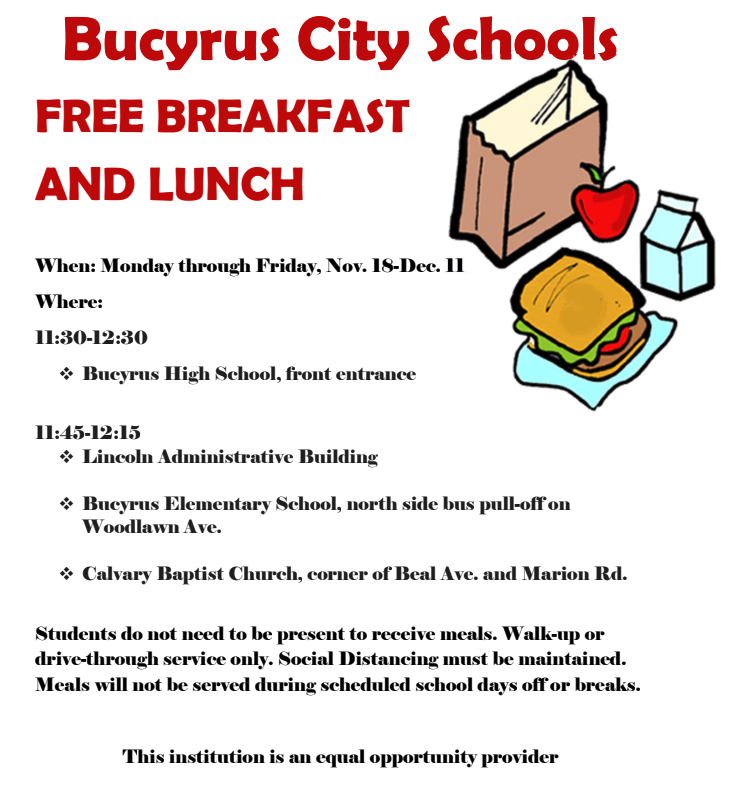 BCS Free Breakfast and Lunch Locations and Times